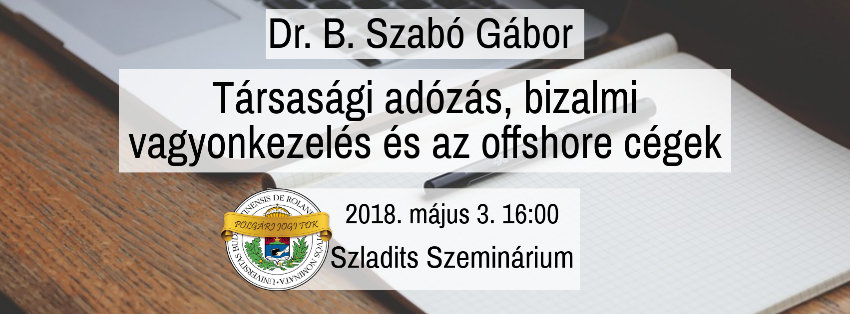 PJ TDK – Dr. B. Szabó Gábor – Társasági adózás, bvk és offshore